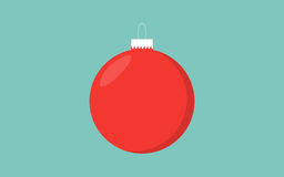 Red christmas ball retro color blue background with detail vector illustration