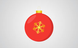 Red christmas ball retro color blue background with golden snowflake decoration. Design Royalty Free Stock Photos