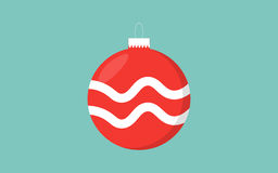 Red christmas ball retro color blue background with wave decoration Royalty Free Stock Photo