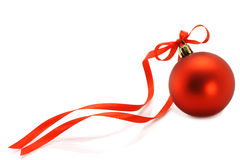 Red Christmas ball with ribbon Royalty Free Stock Image