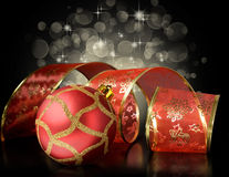 Red Christmas ball and ribbon Stock Photo