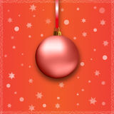Red christmas ball with ribbon Stock Photography