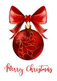 Red Christmas ball with ribbon and a bow Stock Photo