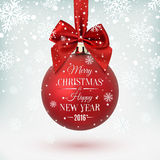 Red Christmas ball with ribbon and a bow. On winter background with snow and snowflakes. Merry Christmas and Happy New Year. Vector illustration Royalty Free Stock Photos