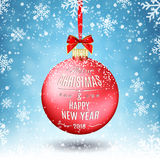 Red Christmas ball with ribbon and a bow. On winter background with snow and snowflakes. Merry Christmas and Happy New Year. Vector illustration Royalty Free Stock Photo