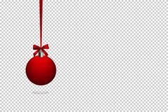 Red Christmas ball , ribbon , isolated on transparent background. royalty free illustration