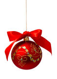 Red christmas ball with ribbon isolated on a white Royalty Free Stock Image