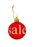 Red Christmas ball with sale tag.Isolated. Royalty Free Stock Photos