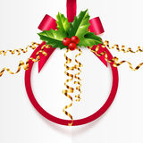 Red Christmas ball shape frame with holly leaves and golden serpentine Royalty Free Stock Photography