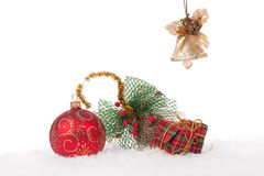 Red Christmas ball with snow Royalty Free Stock Image