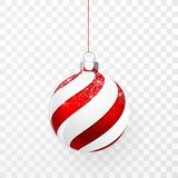 Red Christmas ball with snow effect. Xmas glass ball on transparent background. Holiday decoration template. Vector illustration stock illustration