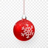 Red Christmas ball with snow effect. Xmas glass ball on transparent background. Holiday decoration template. Vector illustration vector illustration