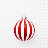 Red Christmas ball with snow effect. Xmas glass ball on transparent background. Holiday decoration template. Vector illustration.  stock illustration