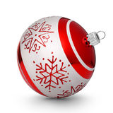 Red christmas ball with snowflakes isolated on white background Royalty Free Stock Photo
