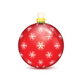 Red Christmas ball with snowflakes Stock Image