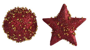 Red Christmas ball and star with clipping path Stock Photography