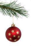 Red Christmas ball with stars. Red ball with stars hanging from branch of Christmas tree Royalty Free Stock Image