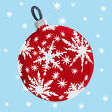 Red  christmas ball and  stars Royalty Free Stock Photography