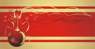 Red Christmas ball with sticker. Card Stock Photography