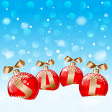 Red Christmas ball, for text SALE. Concept for your advertising. Vector EPS 10. Royalty Free Stock Photography