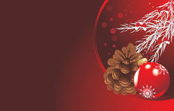 Red Christmas ball with tinsel and pinecone. Festive banner. Illustration Stock Photo