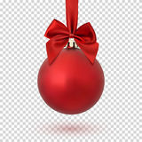 Red Christmas ball on transparent background. Red Christmas ball with ribbon and a bow,  on transparent background. Vector illustration Royalty Free Stock Images