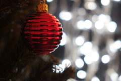 Red Christmas ball on tree with Christmas lights Stock Photo