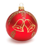 Red Christmas ball. Christmas tree decoration red ball with bells isolated on white backrground Stock Image