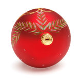 Red Christmas ball. Christmas tree decoration red ball with drawing isolated on white backrground Stock Photo