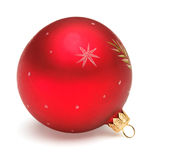 Red Christmas ball. Christmas tree decoration red ball isolated on white backrground Royalty Free Stock Images
