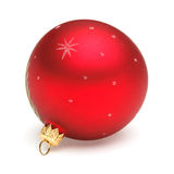 Red Christmas ball. Christmas tree decoration red ball isolated on white backrground Royalty Free Stock Photo