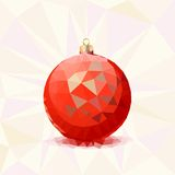 Red Christmas ball with triangles. Royalty Free Stock Photography
