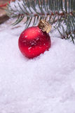 Red christmas ball under a pine tree. Red christmas balls lying on snow under a pine tree Stock Photography