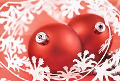 Red Christmas Ball on white Royalty Free Stock Photography
