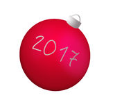 Red Christmas ball  on white background. Red Christmas New year 2017 ball  on white background Royalty Free Stock Photos