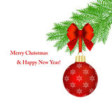 Red Christmas ball on white. Red Christmas ball with bow hanging on fir tree branch over white background Royalty Free Stock Photos
