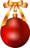 Red Christmas ball with yellow bow Stock Images