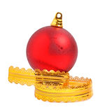 Red christmas ball with a yellow ribbon Royalty Free Stock Photos