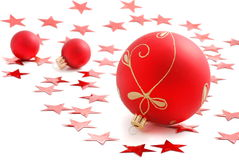 Red Christmas Balls. And red stars Stock Photography