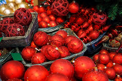 Red Christmas balls. Under Christmas tree Royalty Free Stock Photography