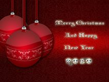 Red Christmas balls. Red Christmas ball - Merry Christmas and Happy New Year 2010 Royalty Free Stock Photos