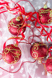 Red Christmas balls Stock Photo