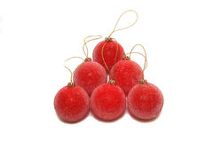 Red christmas balls. Pyramid with red christmas balls isolated over white Royalty Free Stock Photo