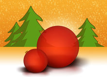 Red Christmas balls. Two red christmas balls landscape Royalty Free Stock Images