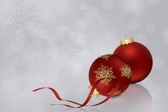 Red christmas balls. Red christmas balls and ribbon Stock Image