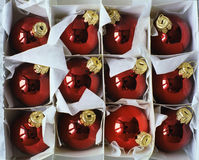 Red Christmas balls. In a box royalty free stock images