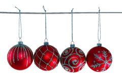 Red christmas balls. With ornament Royalty Free Stock Images