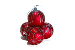 Red christmas balls. With ornament Stock Photo