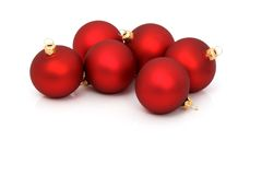 Red christmas balls. Isolated on white royalty free stock image
