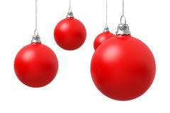 Red Christmas balls. On white background Stock Images